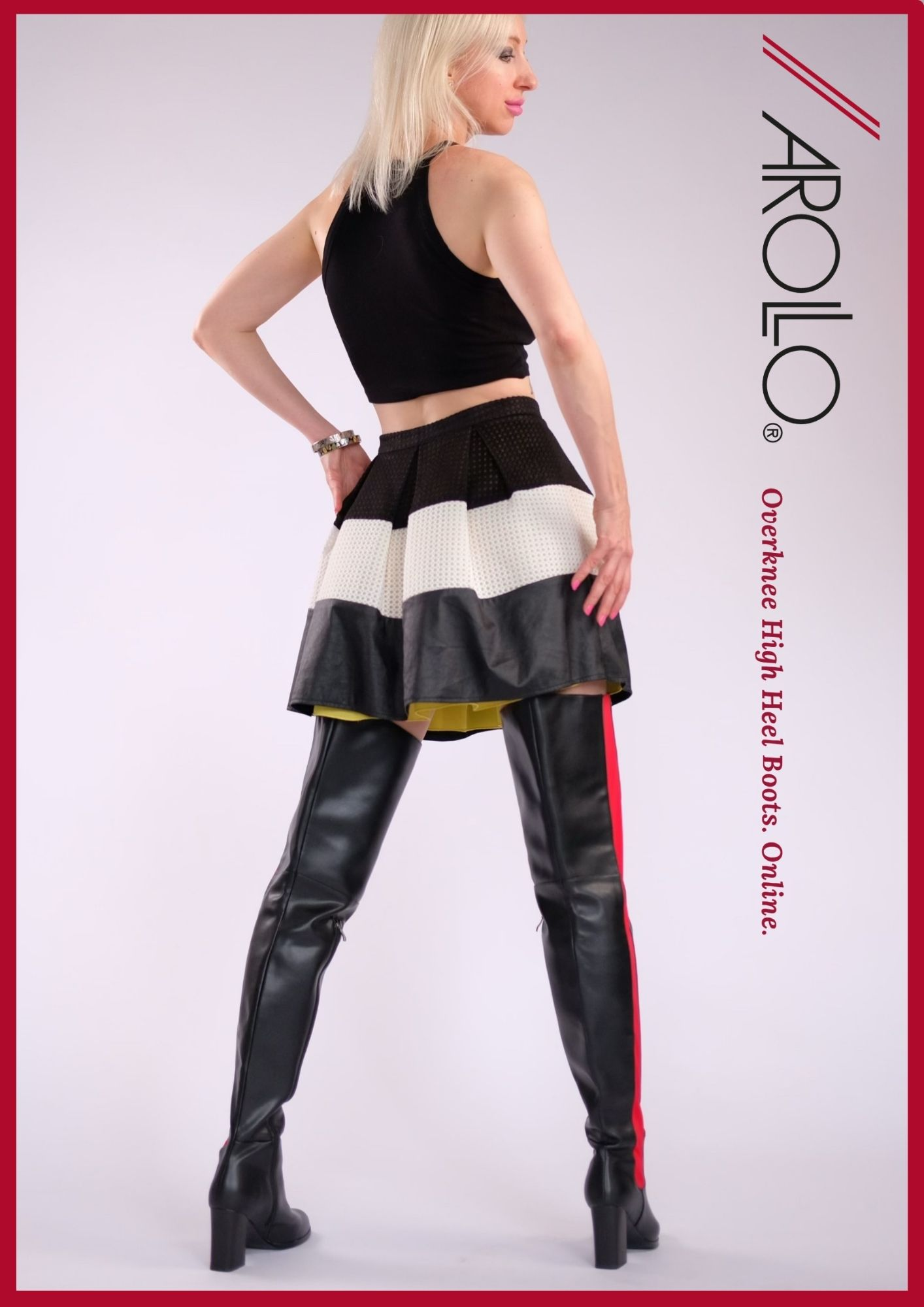 9cm blocked heel boots by Arollo